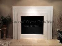 Custom Laminated Slab Fireplace Surround.  Mystery White Marble