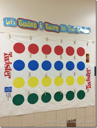 Twister classic board game theme bulletin board