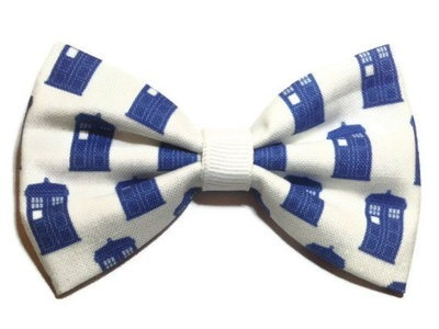 Doctor Who TARDIS Themed Fabric Hair Bow from Crashedhope Designs