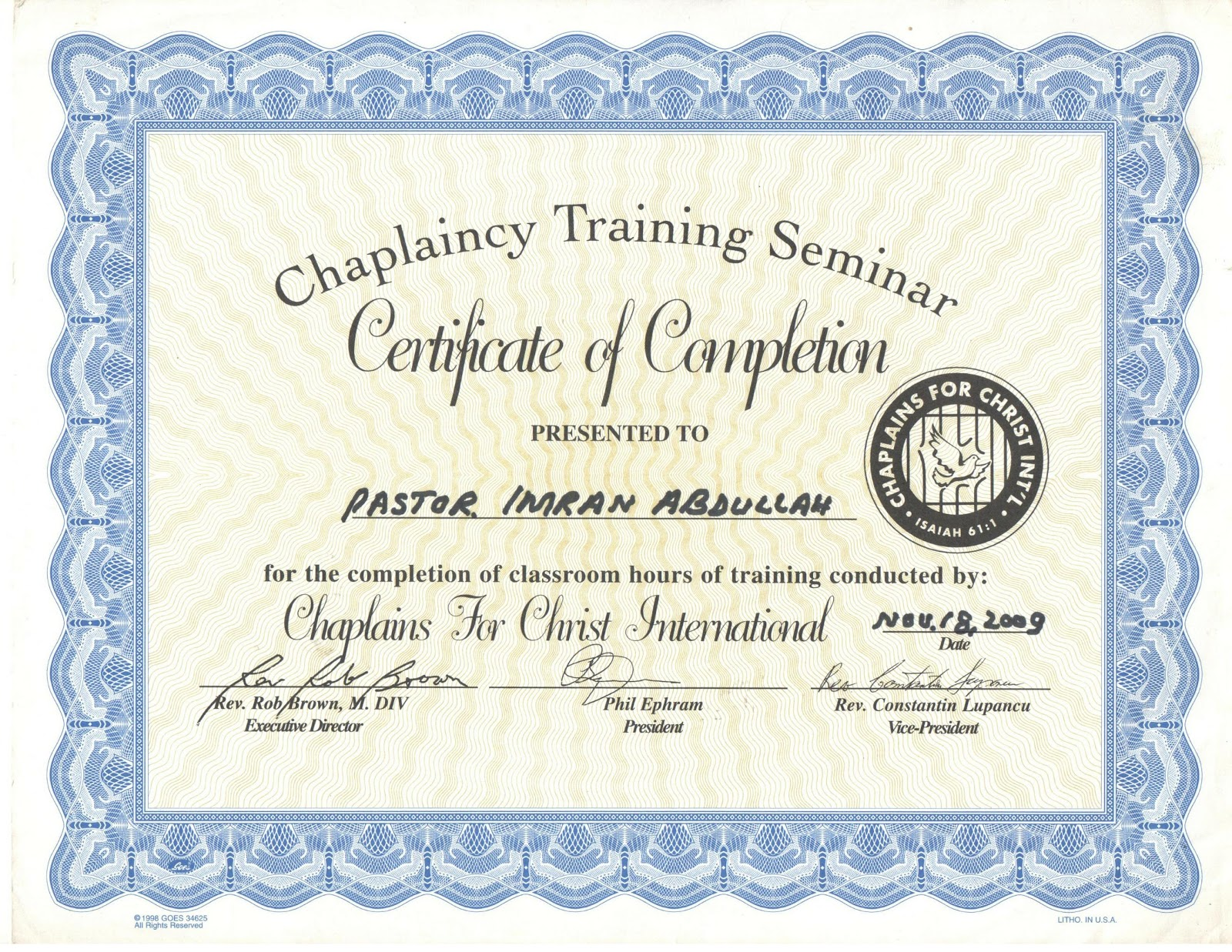 Certificate Of Chaplaincy Jesus Prayer Group