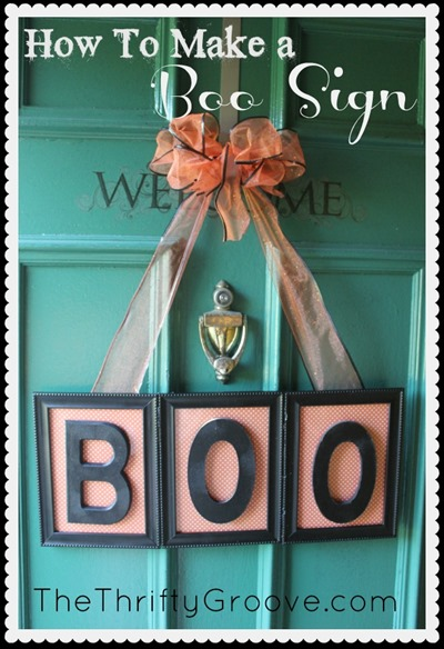 How to make a fun Halloween BOO sign for your door. A simple DIY project using a few dollar store frames. Halloween 2015 home decor. At thethriftygroove.com