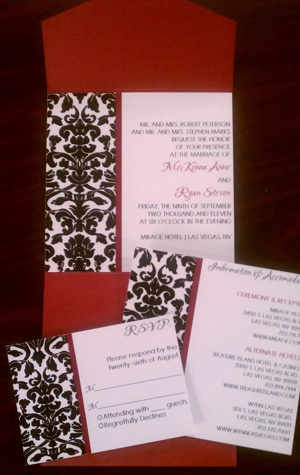 Jena\'s blog: Red, Black and White Damask