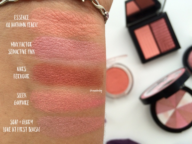 swatches NC40 blushes max factor, nars, sleek, soap and glory, essence