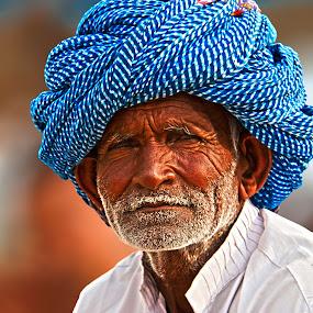 The Old Man of Pushkar by Vyom Saxena - People Portraits of Men ( camel fair, pushkar camel fair, pushkar india, pushkar rajasthan, portrait )