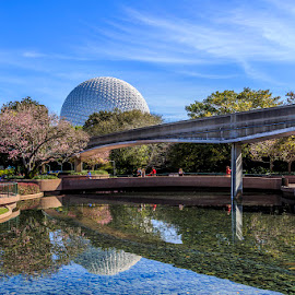 Spaceship Earth By Day by Jeff McVoy - City,  Street & Park  Amusement Parks ( monorail, spaceship earth, reflection, sky, blue, bright, green, colors, epcot, day, disney )
