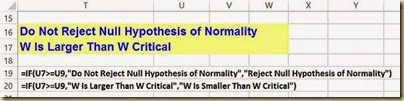 Shapiro-Wilk Normality Test in Excel - Closeup Comparison W and Critical W