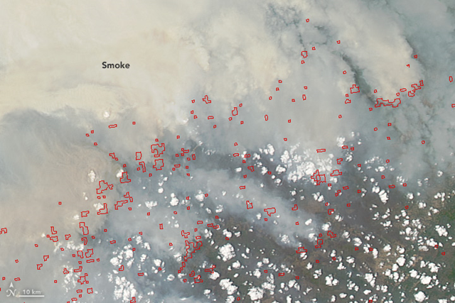 Heavy smoke pours from peat fires in Borneo, Indonesia. The Moderate Resolution Imaging Spectroradiometer (MODIS) on NASA's Aqua satellite captured this image on 19 October 2015. Red outlines indicate hot spots where the sensor detected unusually warm surface temperatures associated with fires. Gray smoke hovers over the island and has triggered air quality alerts and health warnings in Indonesia and neighboring countries. Photo: Jeff Schmaltz / Adam Voiland / NASA Earth ObservatoryHeavy smoke pours from peat fires in Borneo, Indonesia. The Moderate Resolution Imaging Spectroradiometer (MODIS) on NASA's Aqua satellite captured this image on 19 October 2015. Red outlines indicate hot spots where the sensor detected unusually warm surface temperatures associated with fires. Gray smoke hovers over the island and has triggered air quality alerts and health warnings in Indonesia and neighboring countries. Photo: Jeff Schmaltz / Adam Voiland / NASA Earth Observatory