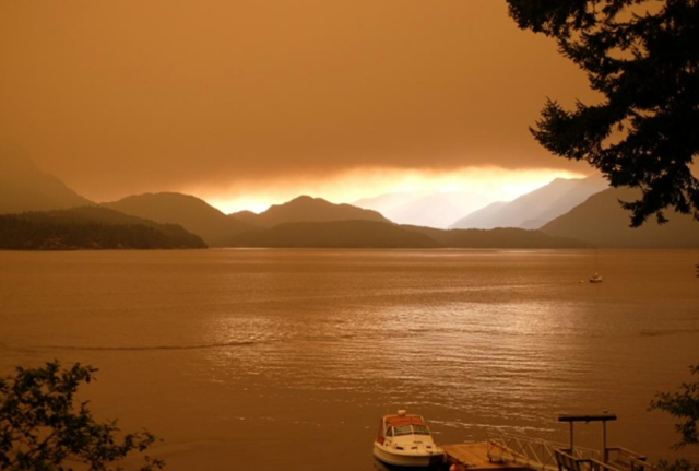 'Forest-fire smoke over Howe Sound, B.C., from the Sechelt fire, like a sci-fi novel cover,' tweeted Tim Bray on 5 July 2015. Photo: Tim Bray / Twitter