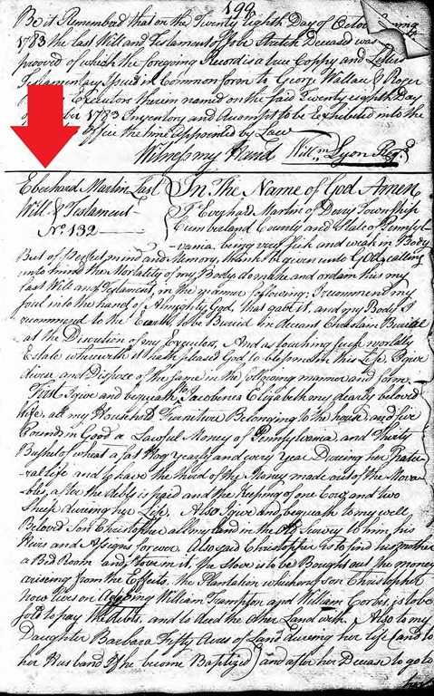 MARTIN_Eberhard_last will & testament_1784_Pennsylvania_pg 1 of 2