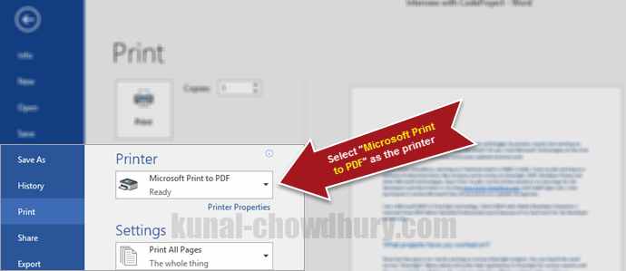 While printing in Windows 10, select Microsoft Print to PDF (www.kunal-chowdhury.com)