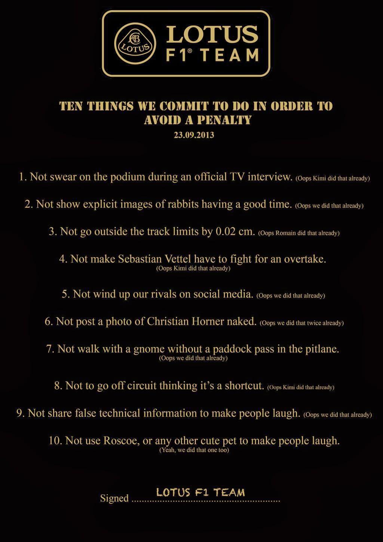 10 советов как избежать наказания от Lotus F1 Team