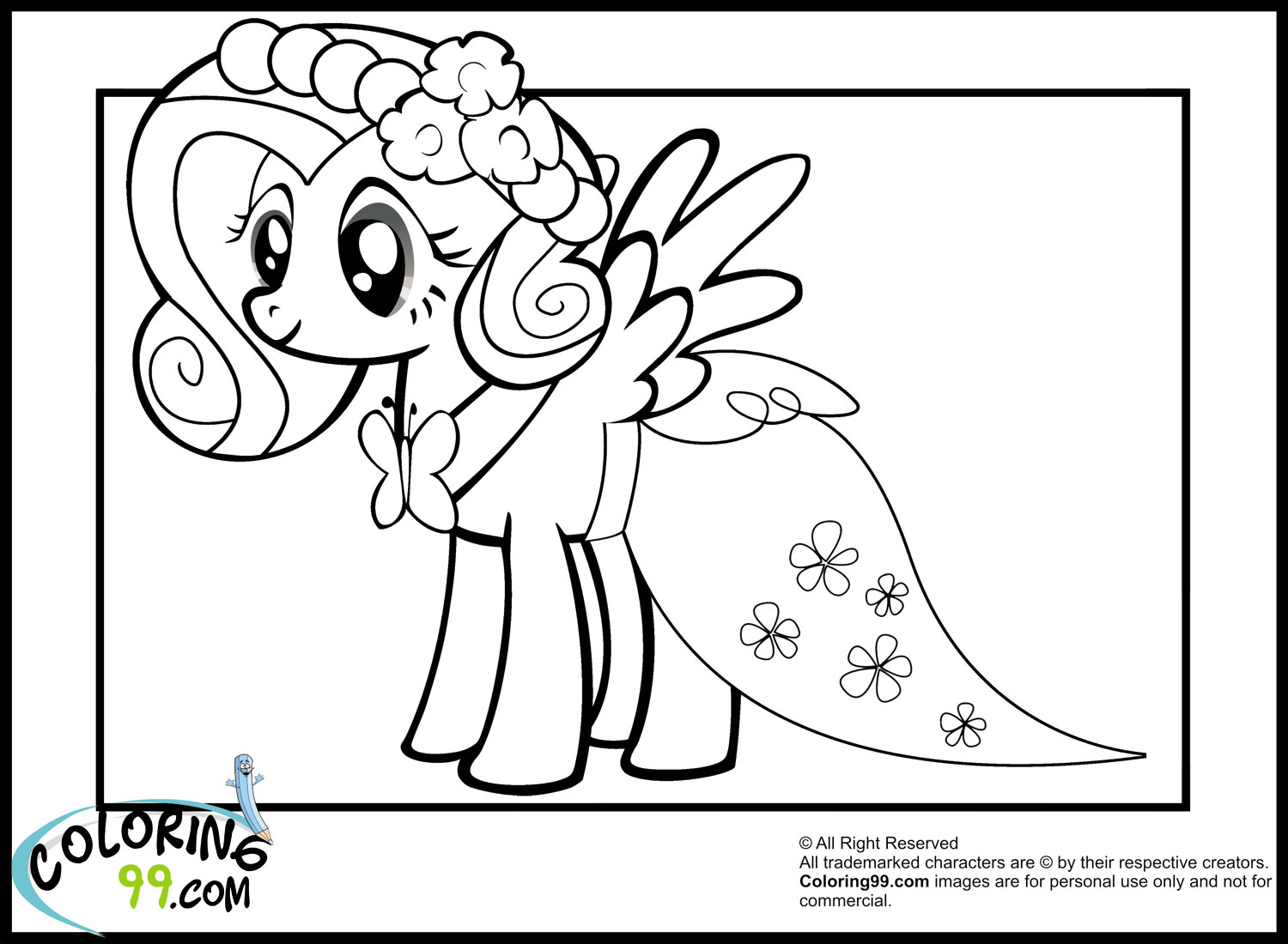 my little pony fluttershy coloring pages