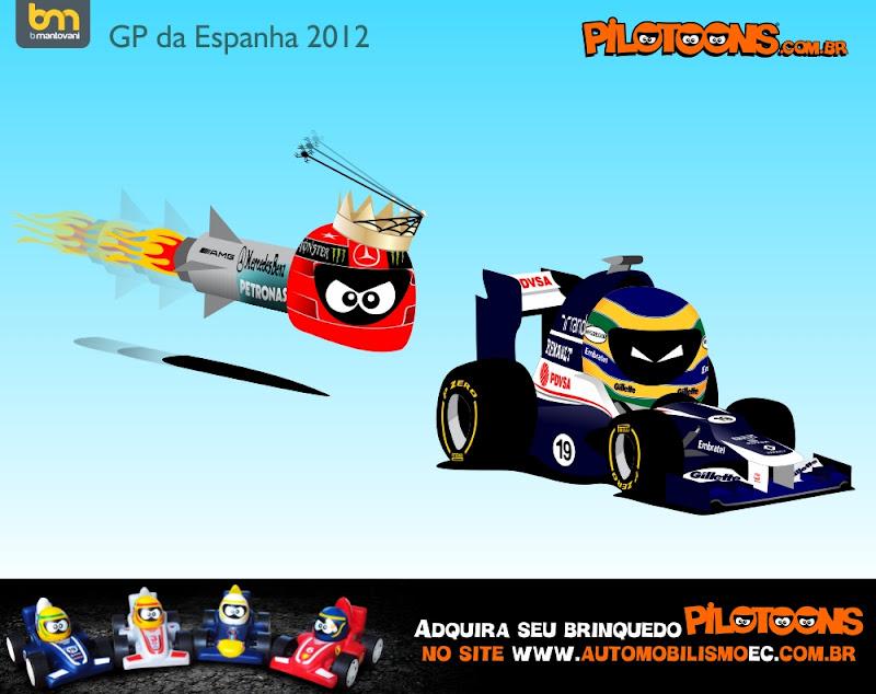 pilotoons Михаэль Шумахер торпедирует Бруно Сенну на Гран-при Испании 2012