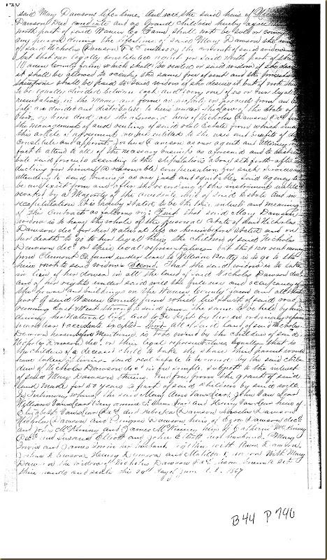 Nicholas Dawson,Deerfield Twp,Warren Co,OH, Mary Irwin,James Irwin heirs 18673