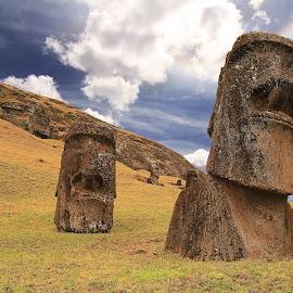 Rano raraku moai by Tadas Jucys - Buildings & Architecture Statues & Monuments ( sky, volcano, easter, blue, majestic, slope, moai, raraku, island, rano, rano raraku moai )
