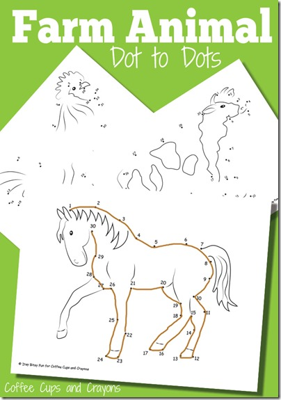 FREE Farm Animals Dot to Dot Worksheets for Kids! These are great for preschool, kindergarten, and 1st grade kids for fall or spring farm unit.