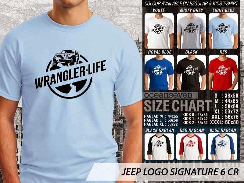 jual kaos jeep Logo Signature 6 Wrangler Life distro