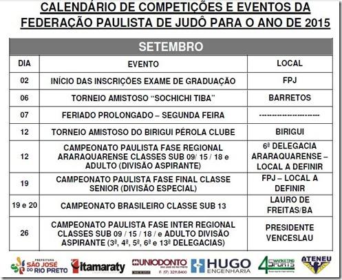 Ano 2015.09 - Calendario Evento de Judo - Setembro