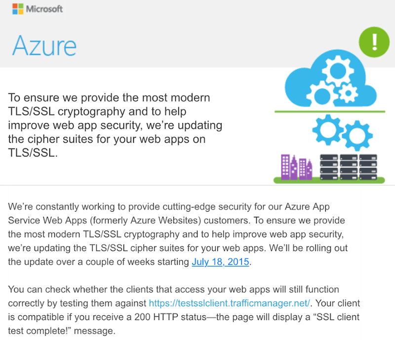 Azure email about strengthening TLS/SSL