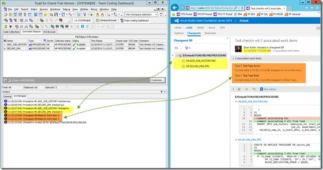 4 - Toad for Oracle 12.6 and TFS 2013 - Associating Work Items with Changesets - Checkin With 2 Associated Work Items_1