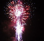 Fireworks on July 4th in downtown Rockville, Maryland.