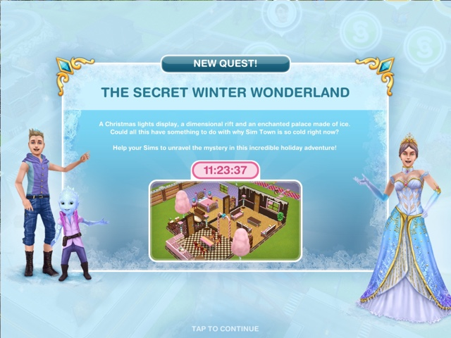 Sims Freeplay The Secret Winter Wonderland Quest Day 1