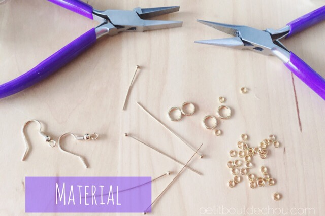 Round nose pliers and beads jewelery making material