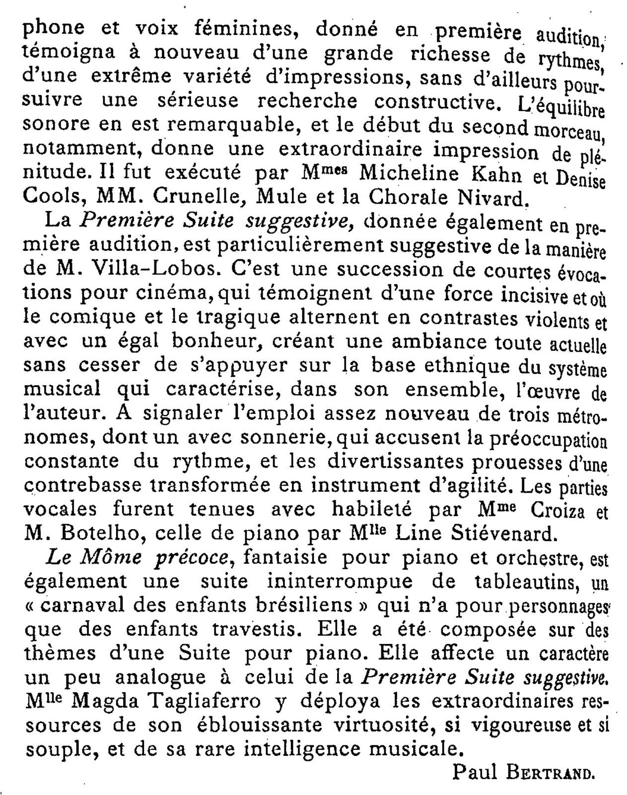 Villa-Lobos Festival, Paris, 1930