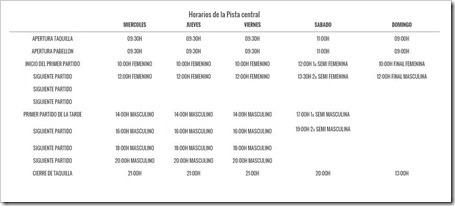 HORARIOS MASTER FINAL WPT IFEMA MADRID 2015