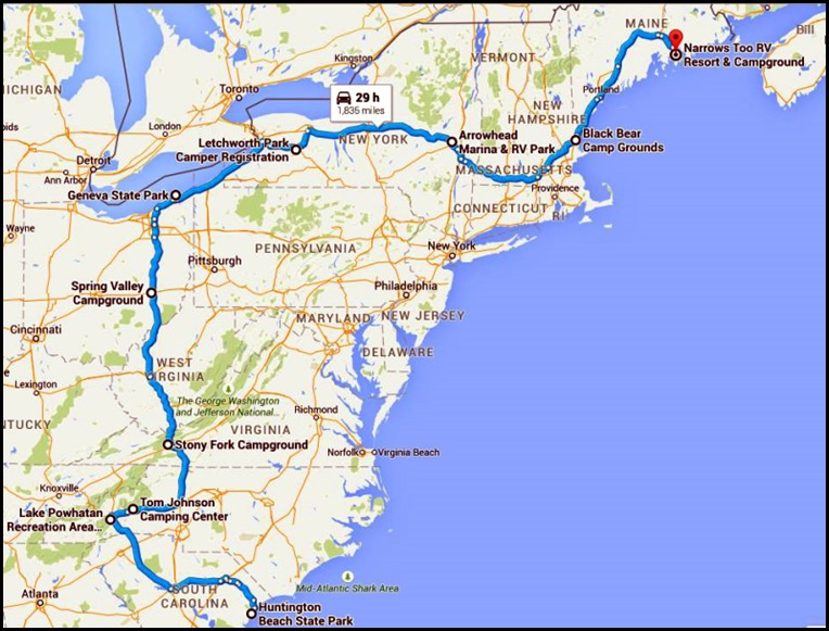 00 - 2015 Summer Travel Map to Maine