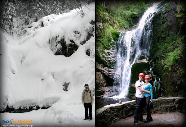 wodospad kamieńczyka zimą i latem