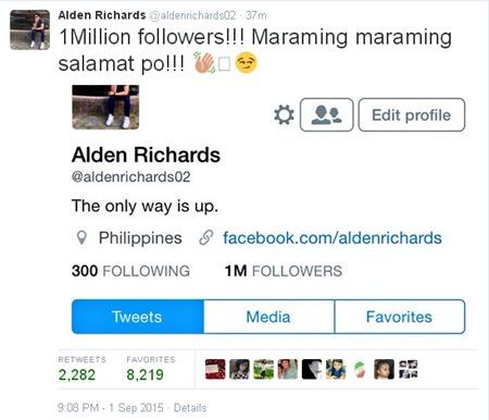 Alden Richards - 1M followers on Twitter