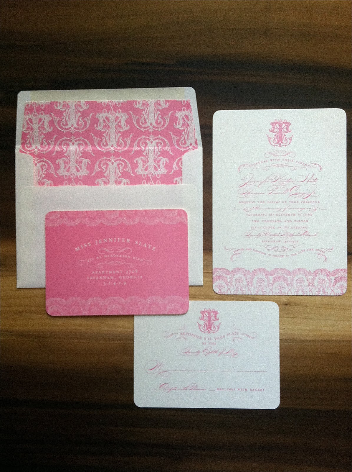 Pink Wedding Invitations with