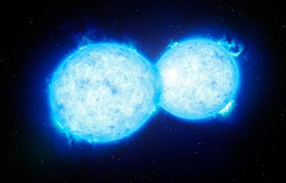 ilustração do mais quente e mais massivo sistema binário de estrelas em contato