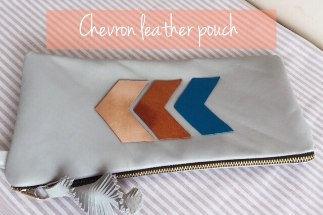 Chevron leather zipper pouch DIY