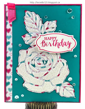 Linda Vich Creates: I Never Promised You A Rose Garden, Or Did I? Patterned paper Rose Garden die cut filled with Dazzling Diamonds adds glitz to a Bermuda Bay and Melon Mambo birthday card.