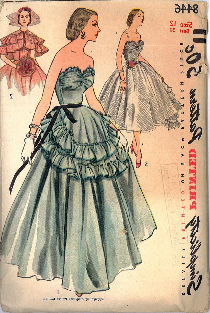 1950s Wedding Cocktail Party Dress Sewing Pattern UNCUT Bust 30 Simplicity