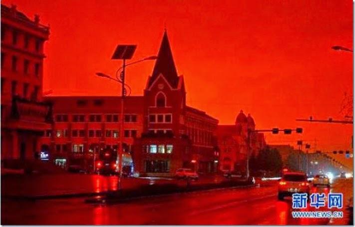 cielo rojo en mongolia