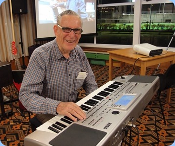 Roy Steen playing his Korg Pa80. Photo courtesy of Dennis Lyons.