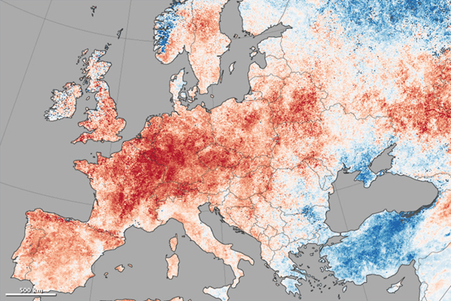 This map shows daytime land surface temperature anomalies in Europe from June 30 to July 9, 2015. Temperatures for those ten days are compared to the 2001–2010 average for the same period. Shades of red depict areas where the land surface was hotter than the long-term average; areas in blue were below average. White pixels were normal, and gray pixels did not have enough data, most likely due to excessive cloud cover. Graphic: Jesse Allen / MODIS Science Team