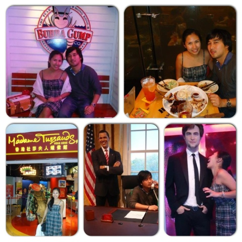 Above: Dinner at Bubba Gump; Below: Madame Tussauds Wax Museum Hongkong