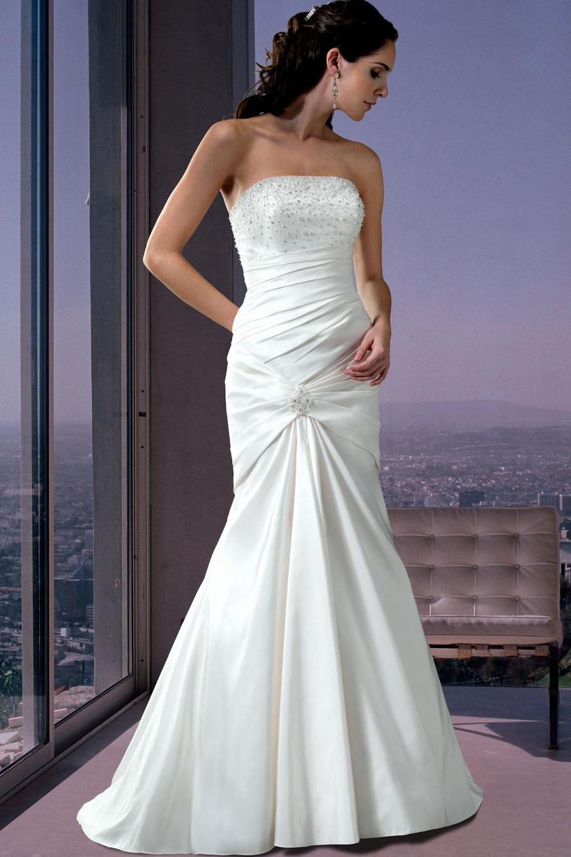 Discount Beaded Lace up Natural Waist Strapless Bridal Dresses ah374