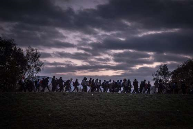 Migrants walked on top of a dike as they were escorted by Slovenian riot police to the registration camp outside Dobova, Slovenia, on 23 October 2015. Photo: Sergey Ponomarev / The New York Times