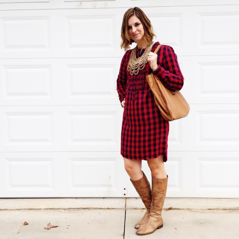 plaid shirt dress, holiday style, how to wear riding boots