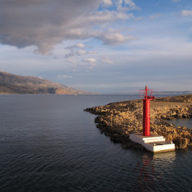 Entering Rab, Croatia by Bozidarka Scerbe Haupt - Landscapes Travel ( lighthouse, croatia, rab, seaside )