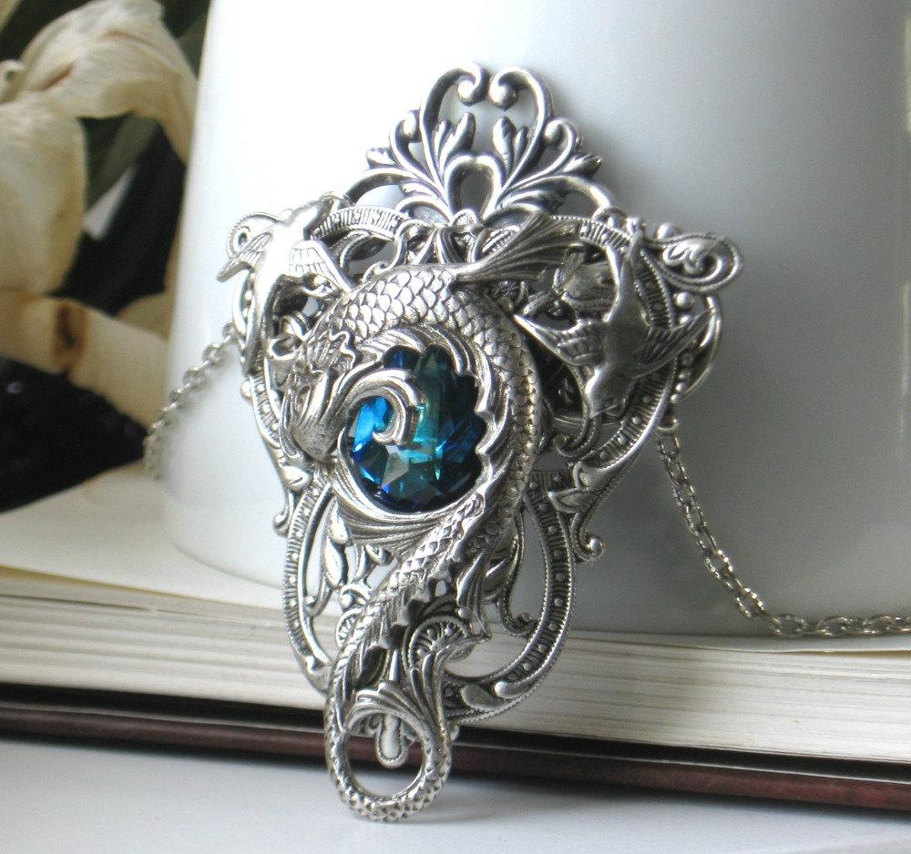 FREE SHIPPING o Celestial Maelstrom Blue and Silver Wedding Fantasy Necklace