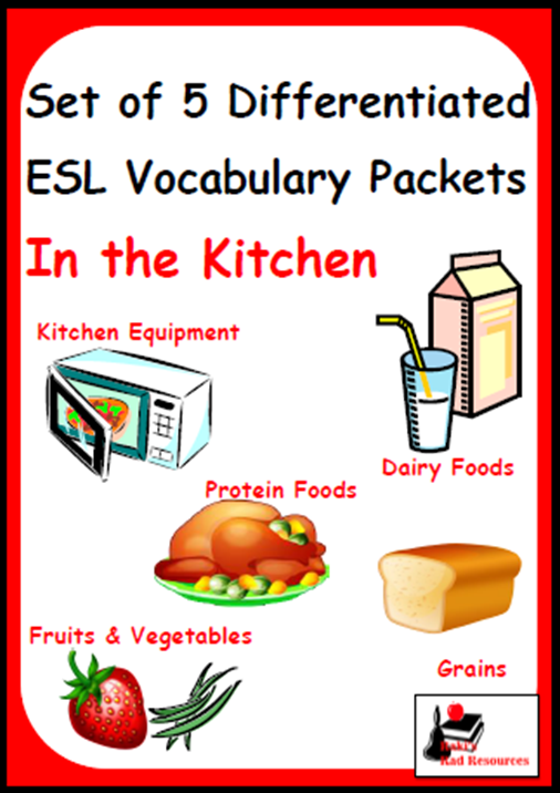 English Language Learners need differentiated vocabulary instruction. Build this into your daily routine with my Differentiated English Language Learner Vocabulary Packets. Resources from Raki's Rad Resources - In the Kitchen Set
