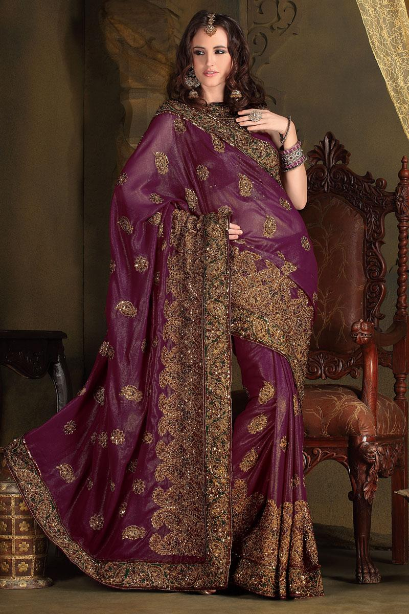 Purple Wedding and Festival Embroidered Saree   183.00