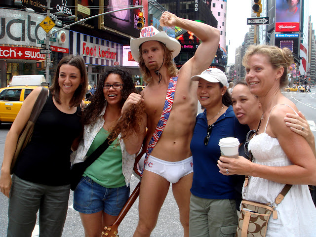 the naked cowboy at times square in New York City, New York, United States