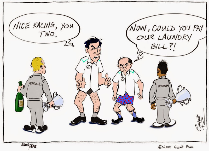 борьба Хэмилтона и Росберга на трассе заставляет понервничать руководство Mercedes - комикс Black Flag по Гран-при Бахрейна 2014